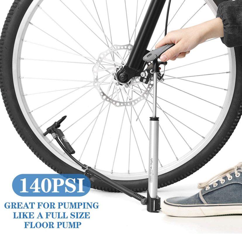 Bike Floor Pump Portable Bicycle Mini Fits Presta Schrader Valves 120PSI Air Of